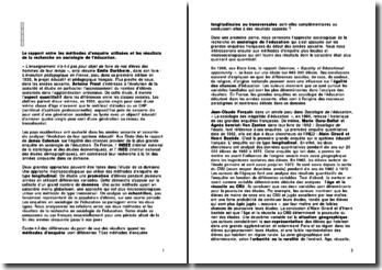 Le rapport entre les méthodes d'enquête utilisées et les résultats de la recherche en sociologie de l'éducation
