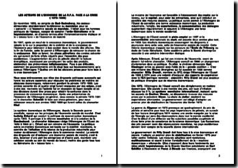 Les acteurs de l'économie de la R.F.A face à la crise (1973-1989)