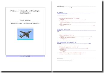 Etude du secteur de l'aviation d'affaires