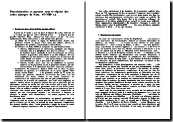 Fonctionnaires et paysans sous le régime des codes (époque de Nara, VII-VIIIe s.)