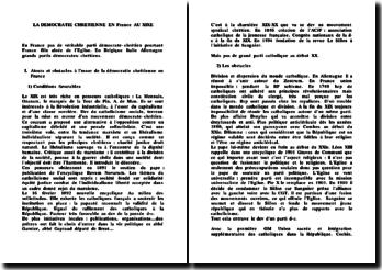 La Démocratie Chrétienne en France au XIXème siècle