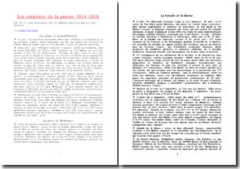 Les surprises de la guerre 1914-1918
