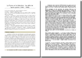 La France et la Libération : les défis de l'après guerre (1944 ? 1946)