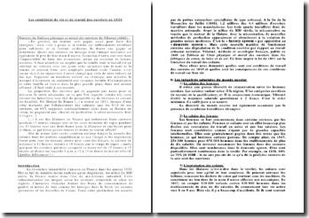Histoire sociale de la France de 1848 à 1914 - Les conditions de vie et de travail des ouvriers en 1840