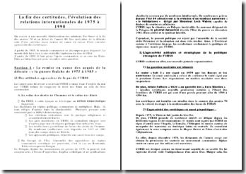 La fin des certitudes, l'évolution des relations internationales de 1975 à 1998