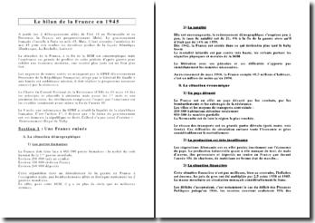 Le bilan de la France en 1945