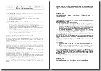 La mise en place des nouvelles institutions de la Vème république