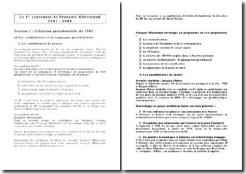 Le 1er septennat de François Mitterrand 1981 - 1988