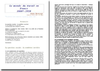 Le monde du travail en France de 1875 à 1950 - Alain Dewerpe
