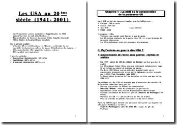 Les USA au 20ème siècle (1941-2001)