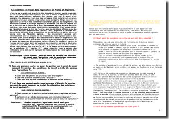 Les conditions de travail dans l'agriculture en France et Angleterre.