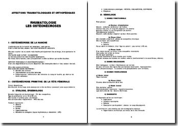 Rhumatologie - Les ostéonécroses