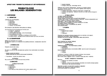 Rhumatologie - Les maladies dégénératives