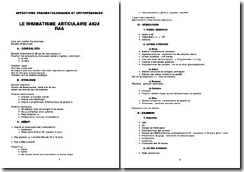 Rhumatologie - Le rhumatisme articulaire aigu (RAA)