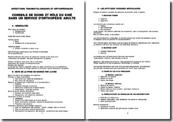Conseils de soins et rôle du kiné dans un service d'orthopédie adulte