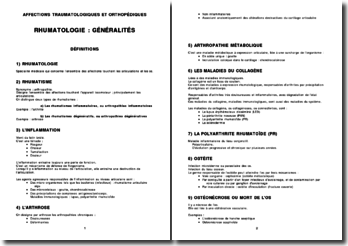 Rhumatologie - Généralités