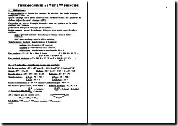 Chimie - Thermochimie : 1er et 2ème principes