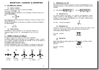 Chimie - Molécules: liaisons et géométrie