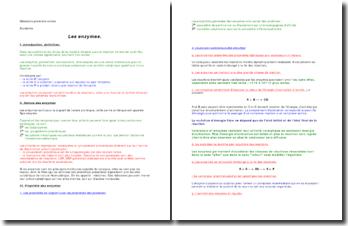Les enzymes -nature, propriétés, mécanismes d'action, cinétique, effecteurs, types