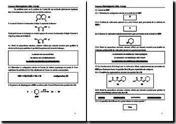 Chimie organique - Concours Pitié-Salpêtrière 2008 PCEM1 - Corrigé