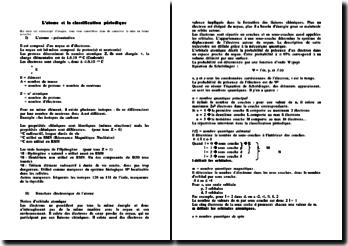 L'atome et la classification périodique