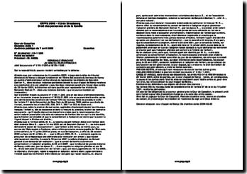 Cas pratique de droit de la famille - CRFPA 2006 - IEJ de Strasbourg