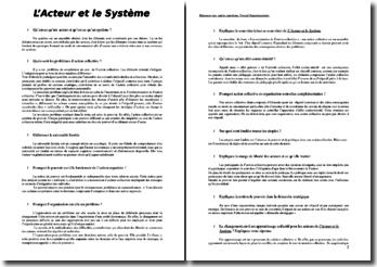 Sociologie des organisations et l'acteur et le système, commentés
