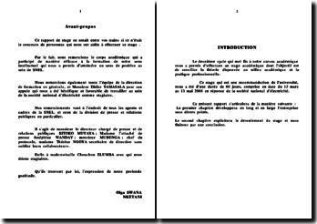 Rapport de stage à la société nationale d'électricité du Congo - SNEL